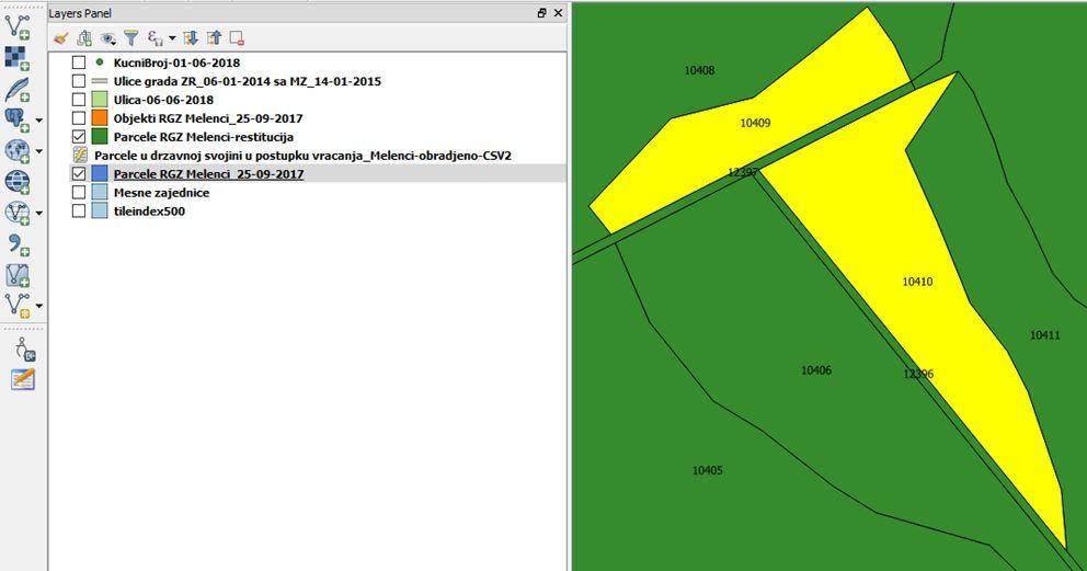 Prikaz parcela sa povezanim podacima iz excela GIS